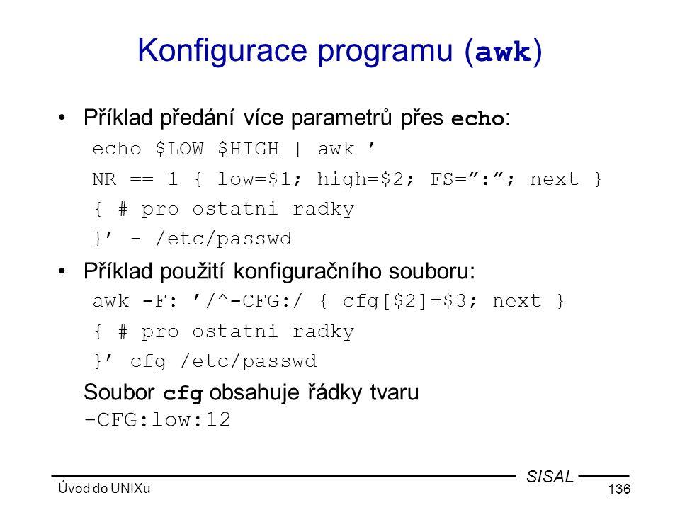 Konfigurace programu (awk)