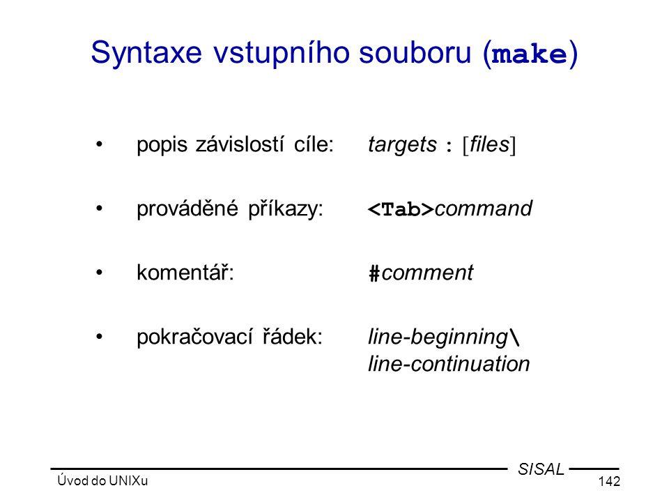 Syntaxe vstupního souboru (make)