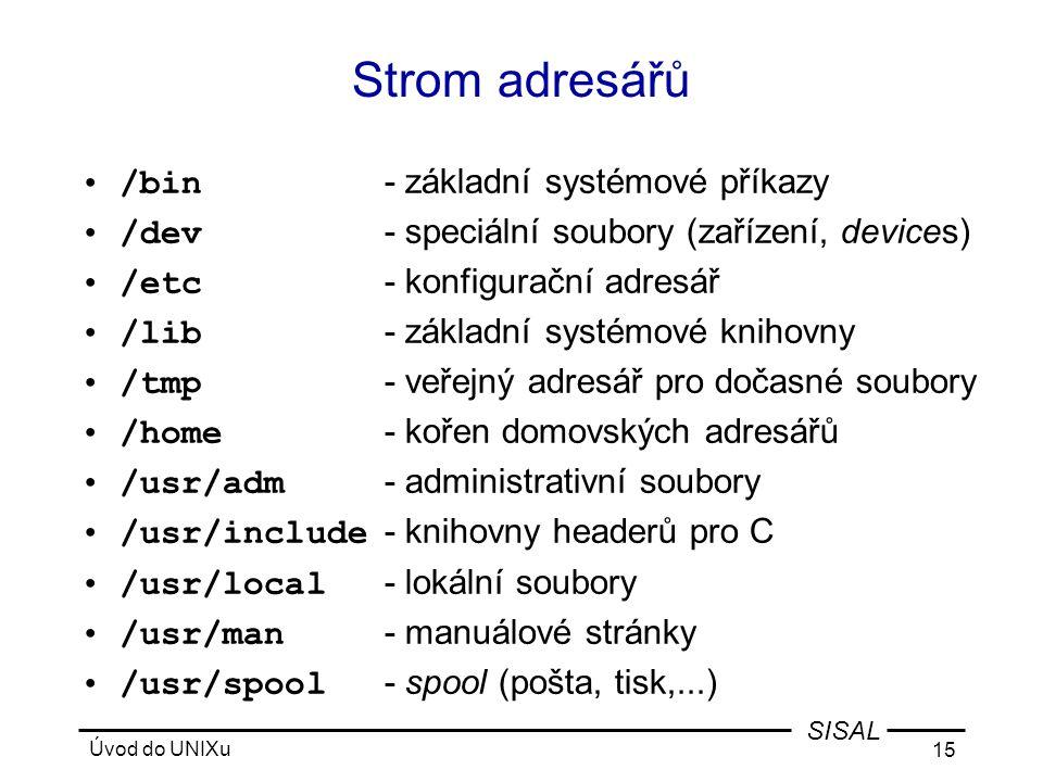 Strom adresářů /bin - základní systémové příkazy