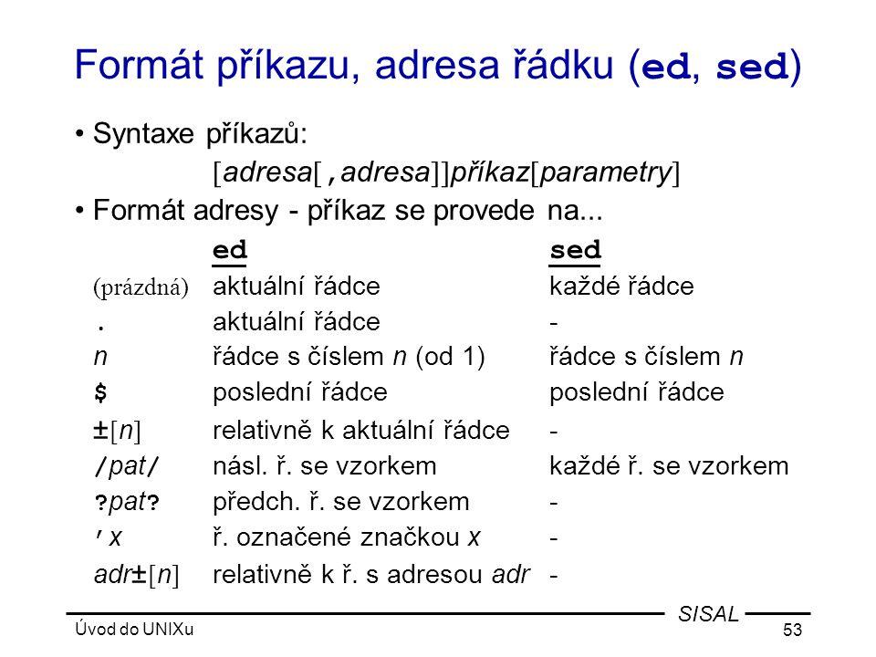 Formát příkazu, adresa řádku (ed, sed)