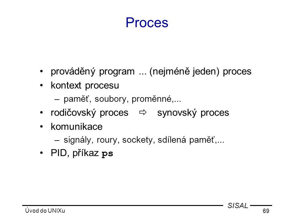 Proces prováděný program ... (nejméně jeden) proces kontext procesu