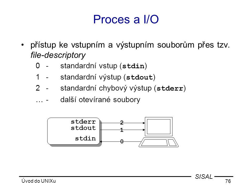 Proces a I/O přístup ke vstupním a výstupním souborům přes tzv. file-descriptory. 0 - standardní vstup (stdin)