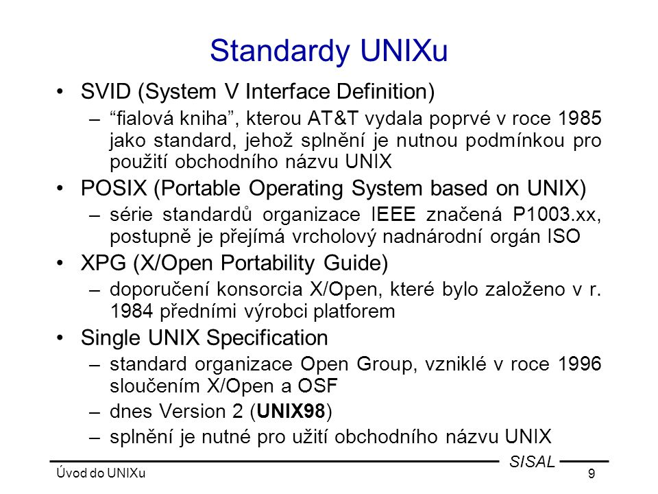 Standardy UNIXu SVID (System V Interface Definition)