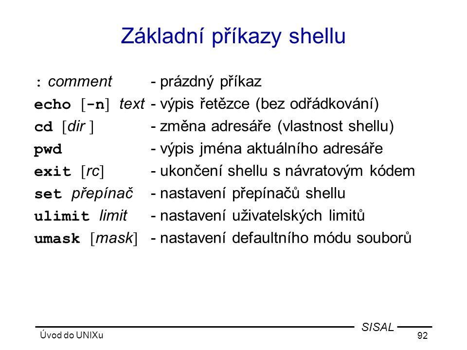 Základní příkazy shellu