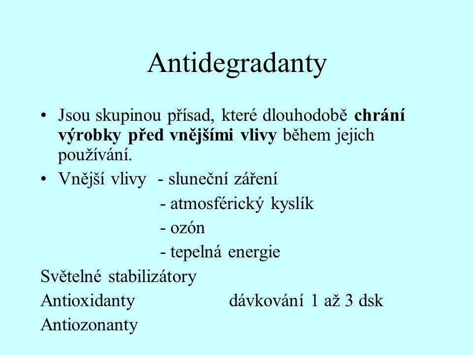 Antidegradanty Jsou skupinou přísad, které dlouhodobě chrání výrobky před vnějšími vlivy během jejich používání.