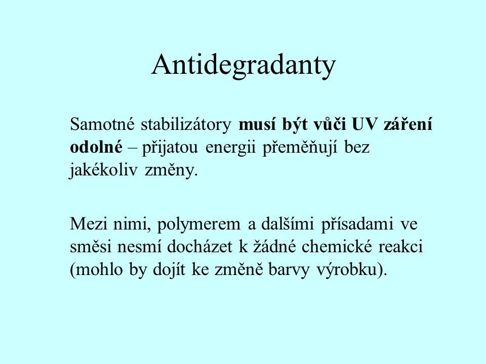 Antidegradanty Samotné stabilizátory musí být vůči UV záření odolné – přijatou energii přeměňují bez jakékoliv změny.