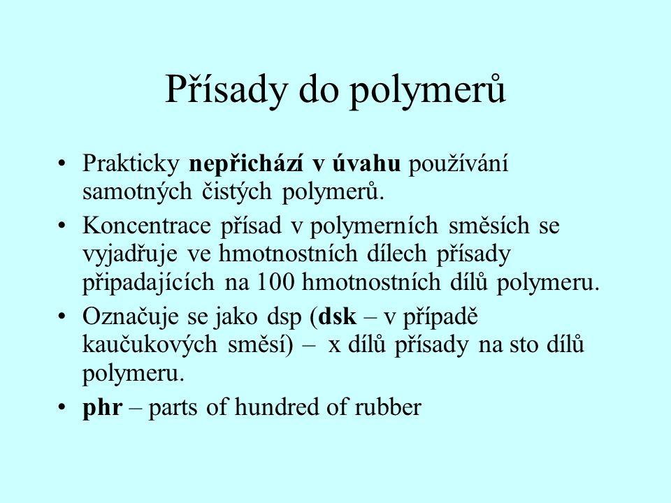 Přísady do polymerů Prakticky nepřichází v úvahu používání samotných čistých polymerů.