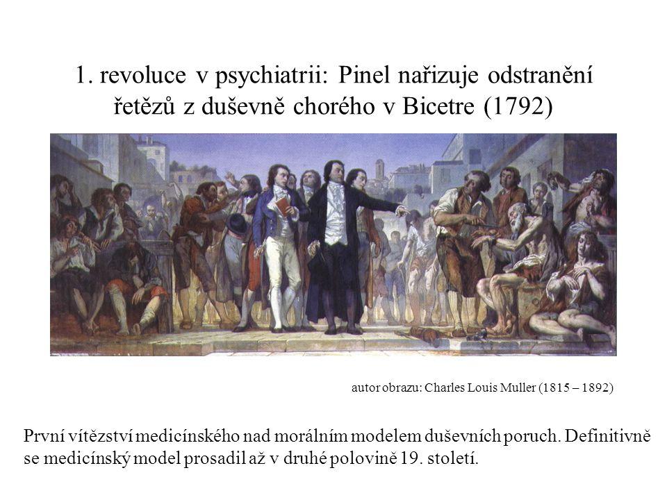 1. revoluce v psychiatrii: Pinel nařizuje odstranění řetězů z duševně chorého v Bicetre (1792)