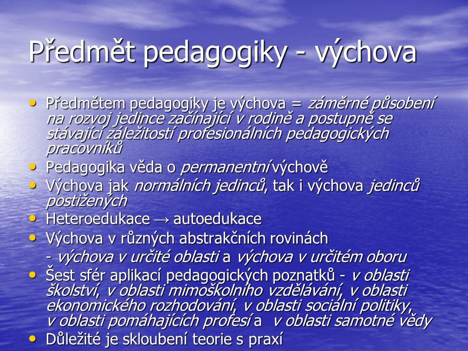 Předmět pedagogiky - výchova