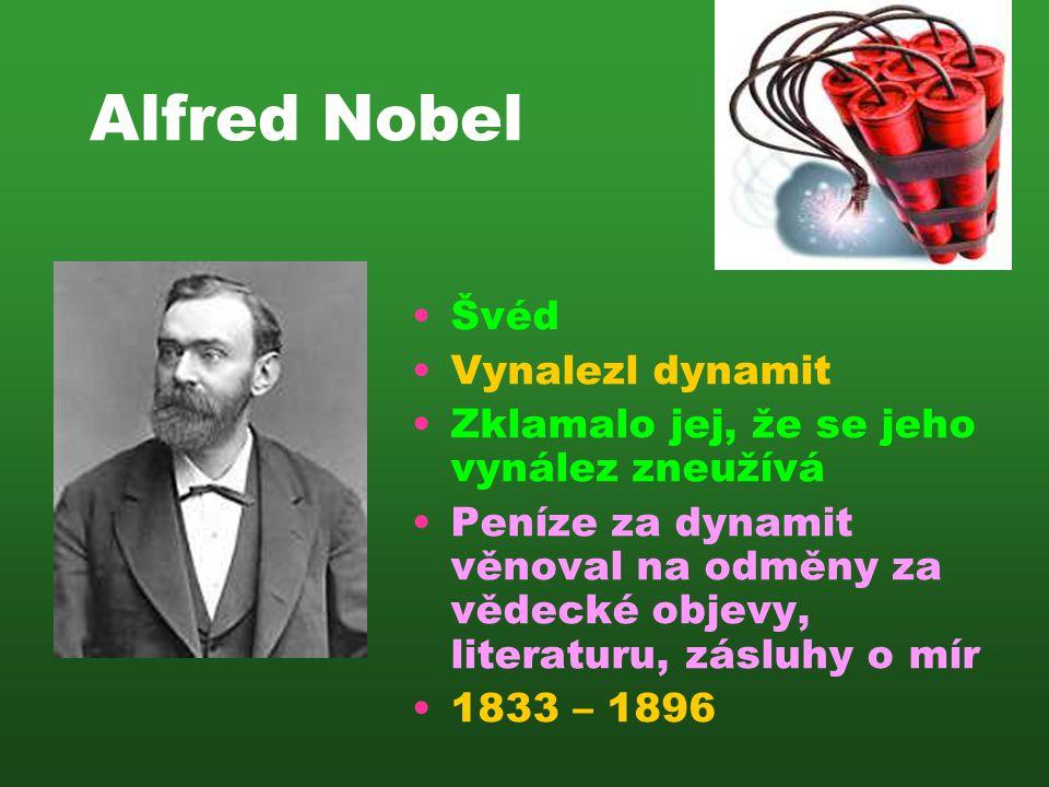 Alfred Nobel Švéd Vynalezl dynamit