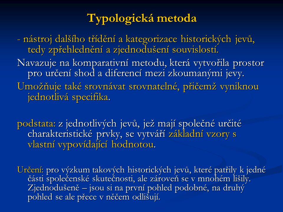 Typologická metoda - nástroj dalšího třídění a kategorizace historických jevů, tedy zpřehlednění a zjednodušení souvislostí.