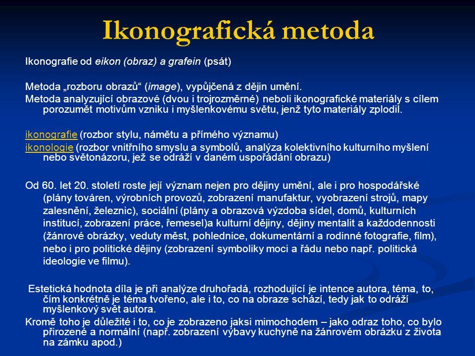 Ikonografická metoda Ikonografie od eikon (obraz) a grafein (psát)