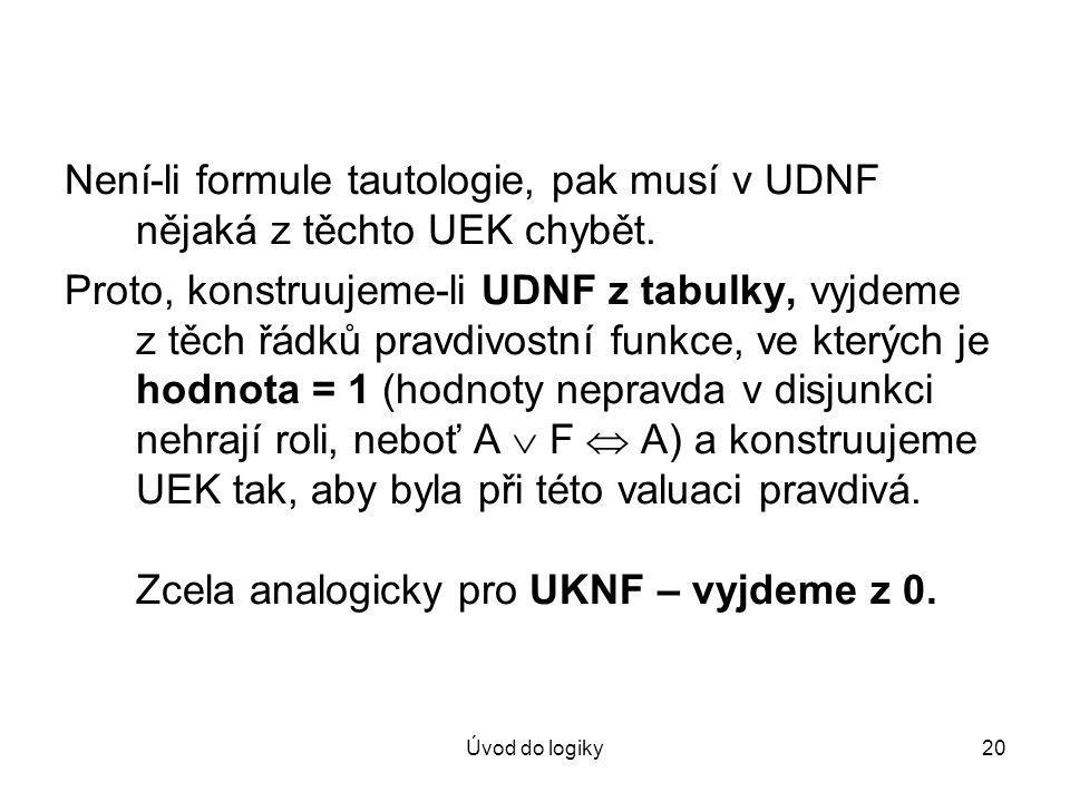 Není-li formule tautologie, pak musí v UDNF nějaká z těchto UEK chybět.