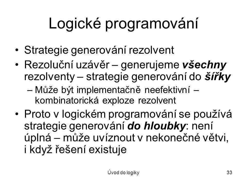 Logické programování Strategie generování rezolvent