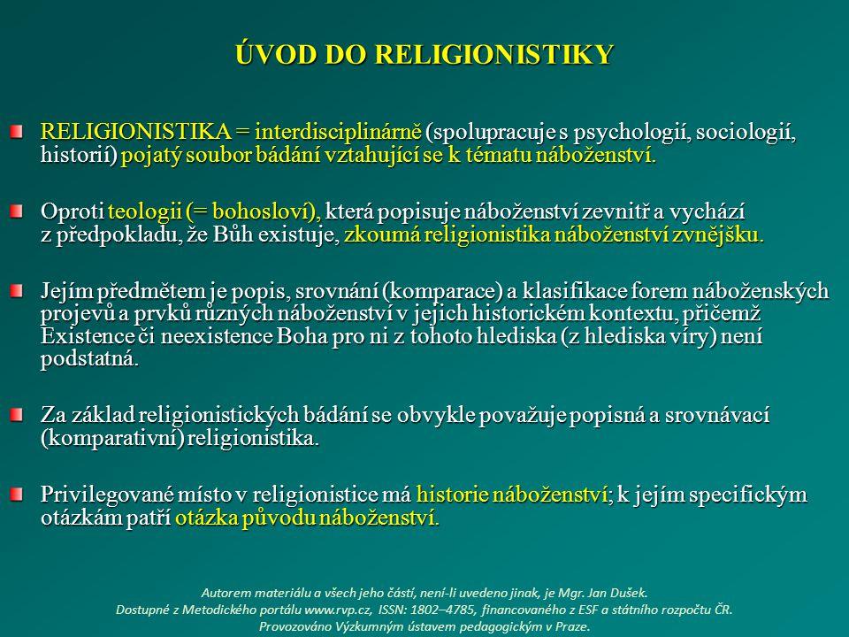 ÚVOD DO RELIGIONISTIKY