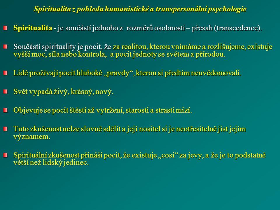 Spiritualita z pohledu humanistické a transpersonální psychologie