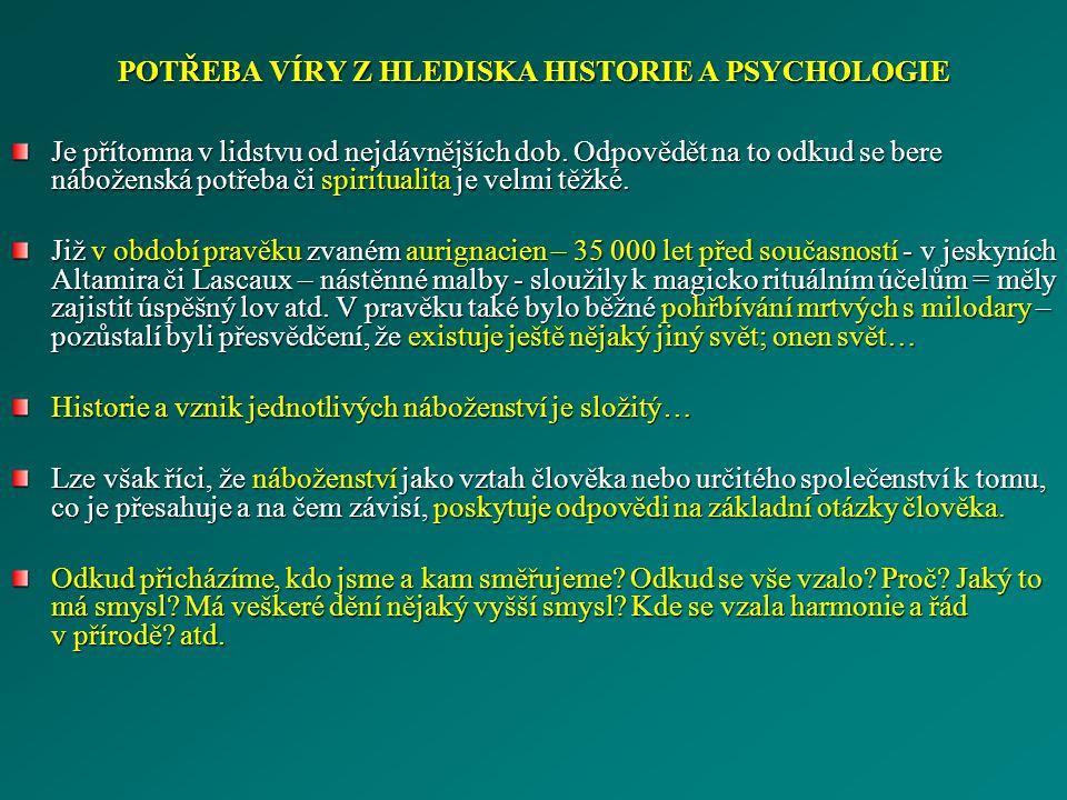 POTŘEBA VÍRY Z HLEDISKA HISTORIE A PSYCHOLOGIE