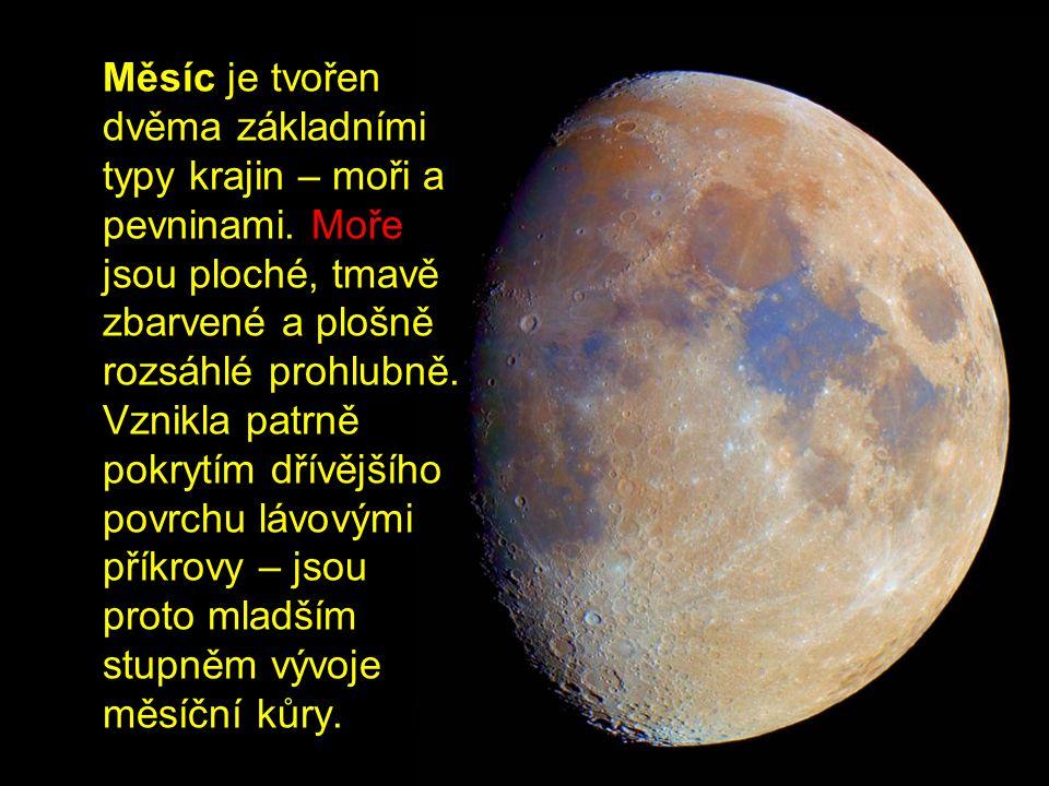 Měsíc je tvořen dvěma základními typy krajin – moři a pevninami