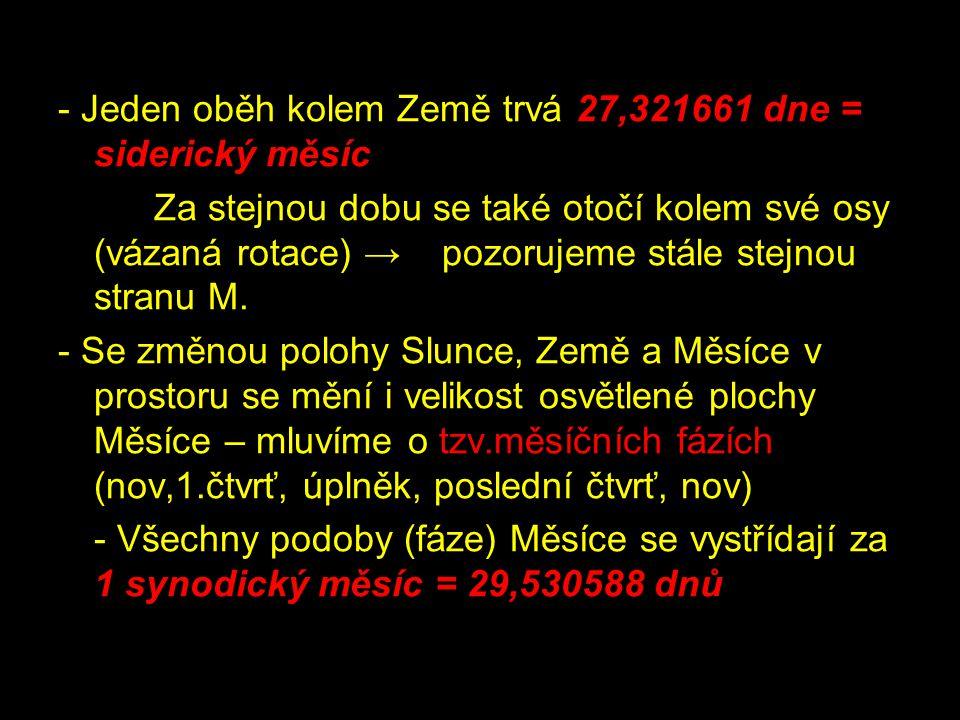 - Jeden oběh kolem Země trvá 27,321661 dne = siderický měsíc
