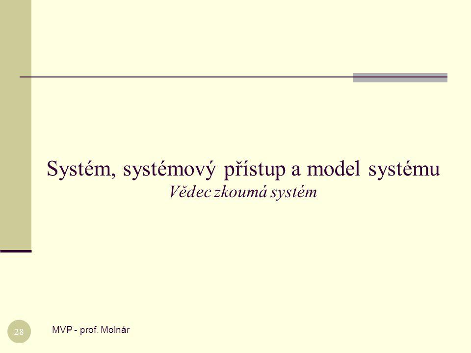 Systém, systémový přístup a model systému Vědec zkoumá systém