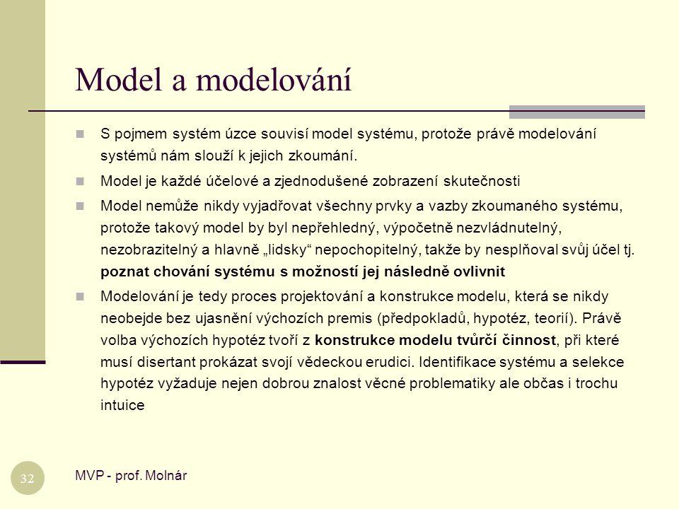 Model a modelování S pojmem systém úzce souvisí model systému, protože právě modelování systémů nám slouží k jejich zkoumání.