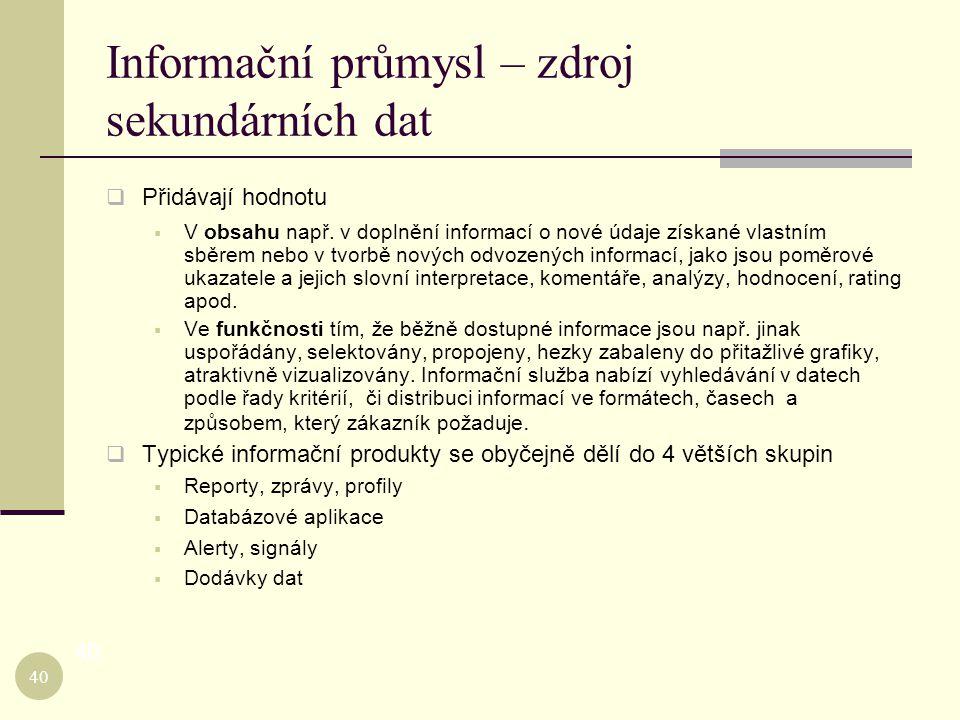 Informační průmysl – zdroj sekundárních dat