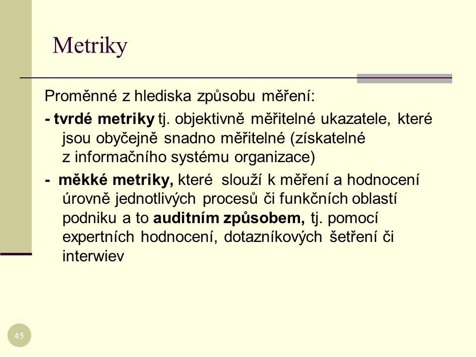 Metriky Proměnné z hlediska způsobu měření: