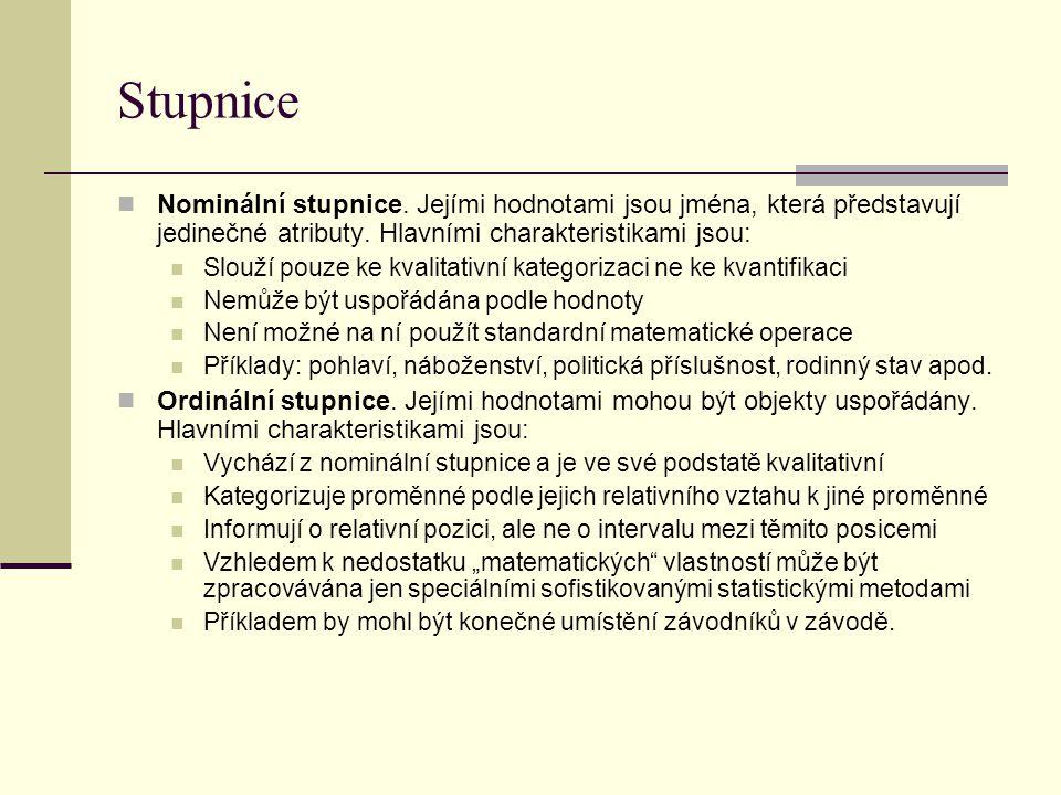 Stupnice Nominální stupnice. Jejími hodnotami jsou jména, která představují jedinečné atributy. Hlavními charakteristikami jsou: