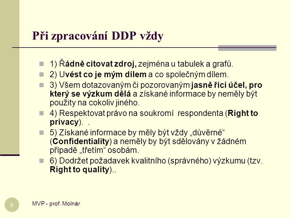Při zpracování DDP vždy