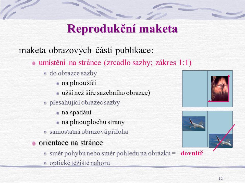 Reprodukční maketa maketa obrazových částí publikace: