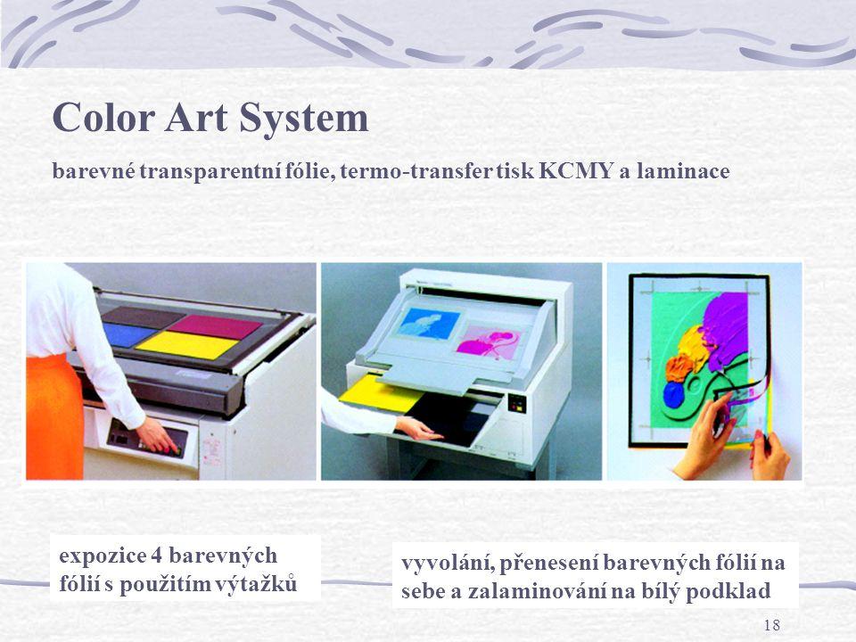 Color Art System barevné transparentní fólie, termo-transfer tisk KCMY a laminace. expozice 4 barevných fólií s použitím výtažků.