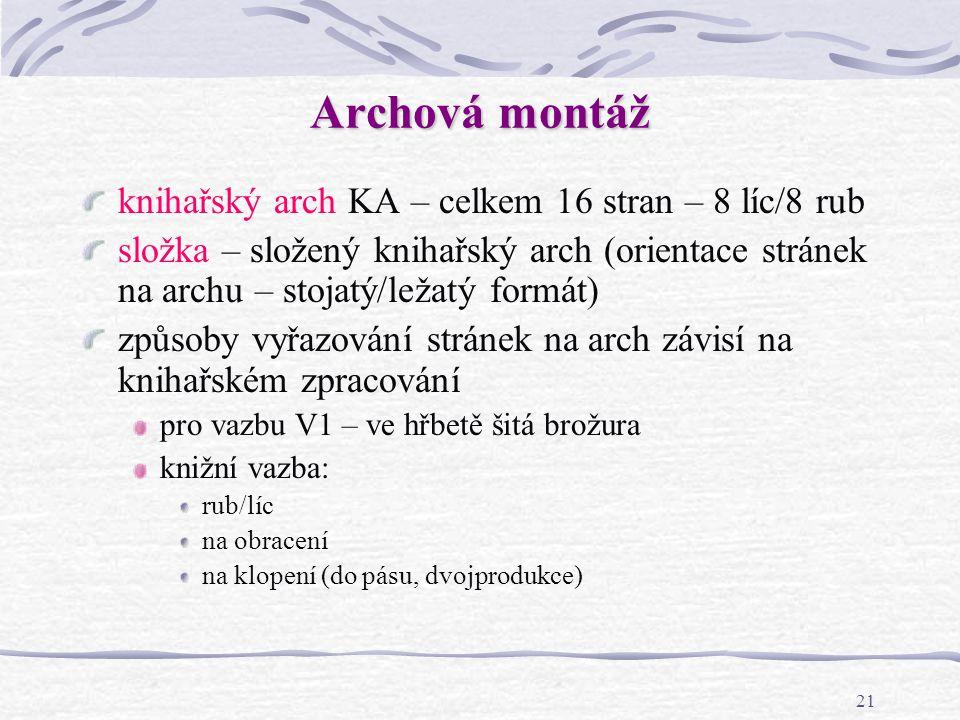 Archová montáž knihařský arch KA – celkem 16 stran – 8 líc/8 rub
