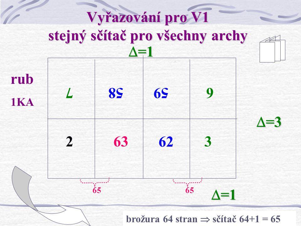 Vyřazování pro V1 stejný sčítač pro všechny archy
