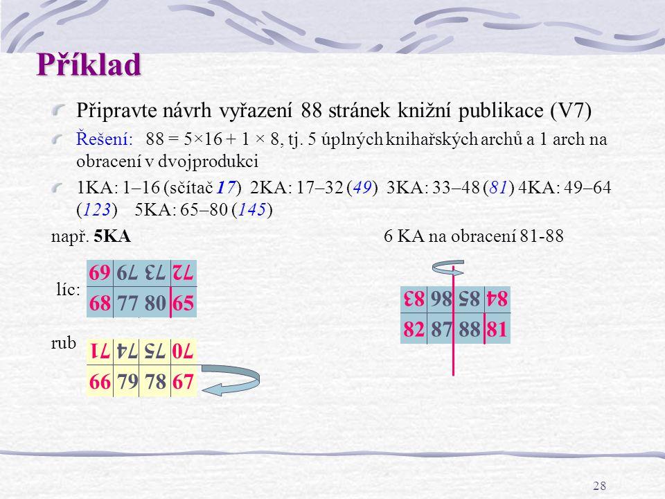 Příklad Připravte návrh vyřazení 88 stránek knižní publikace (V7)