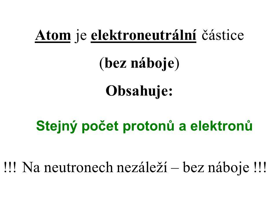 Stejný počet protonů a elektronů