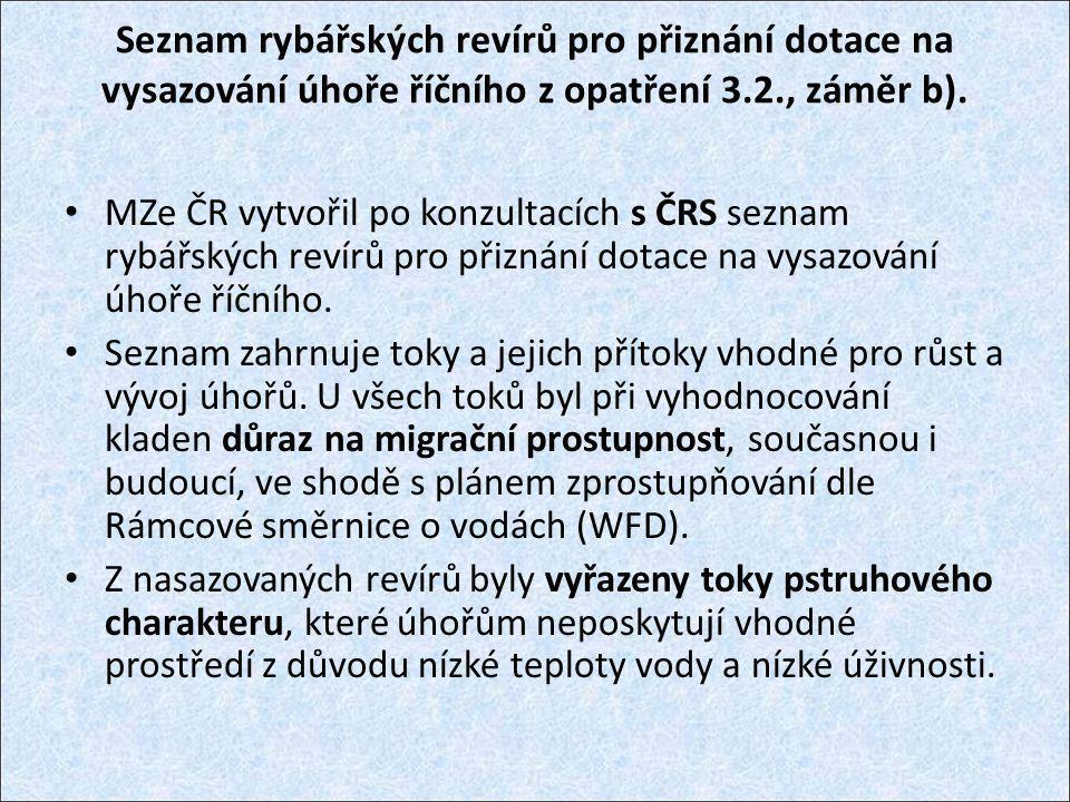 Seznam rybářských revírů pro přiznání dotace na vysazování úhoře říčního z opatření 3.2., záměr b).