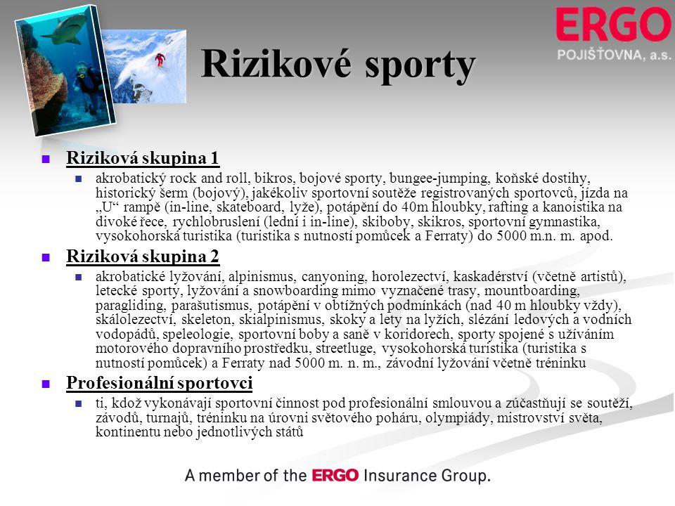 Rizikové sporty Riziková skupina 1 Riziková skupina 2