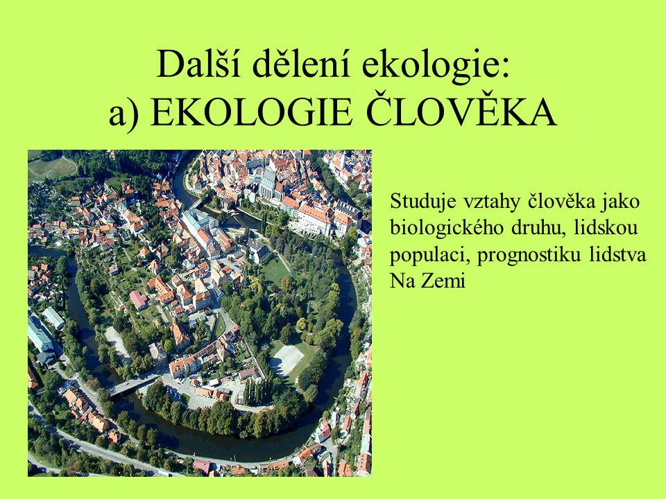 Další dělení ekologie: a) EKOLOGIE ČLOVĚKA
