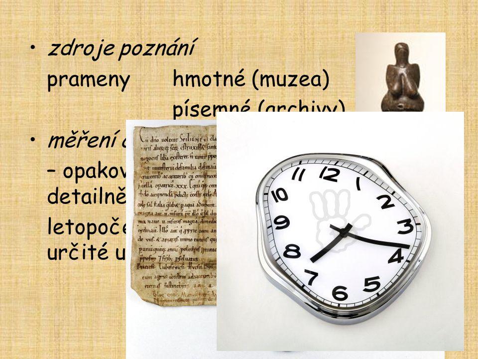 zdroje poznání prameny hmotné (muzea) písemné (archivy) měření času. – opakování ročních období – koloběh → detailnější členění → kalendář.