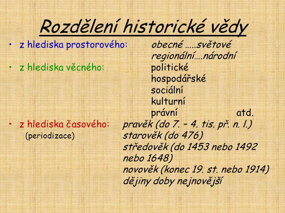 Rozdělení historické vědy