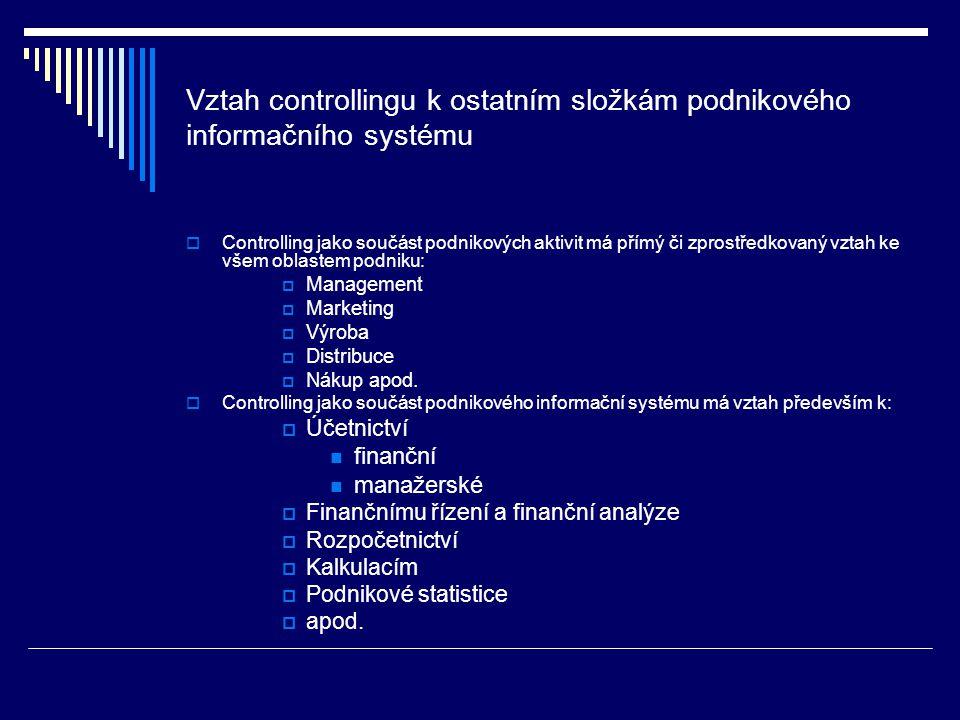 Vztah controllingu k ostatním složkám podnikového informačního systému