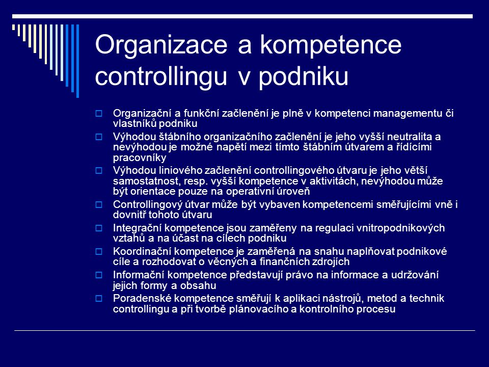 Organizace a kompetence controllingu v podniku