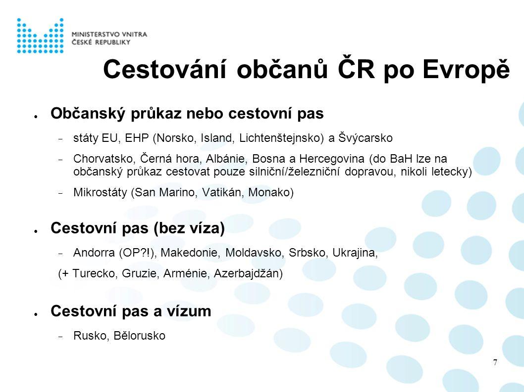 Cestování občanů ČR po Evropě