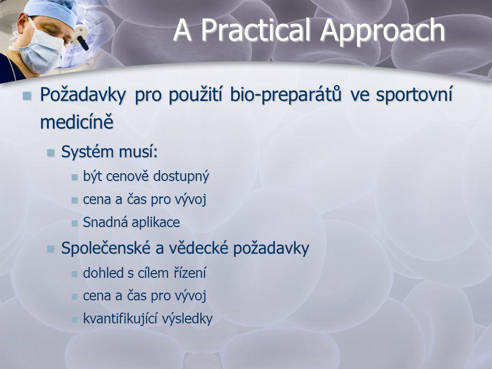 A Practical Approach Požadavky pro použití bio-preparátů ve sportovní medicíně. Systém musí: být cenově dostupný.