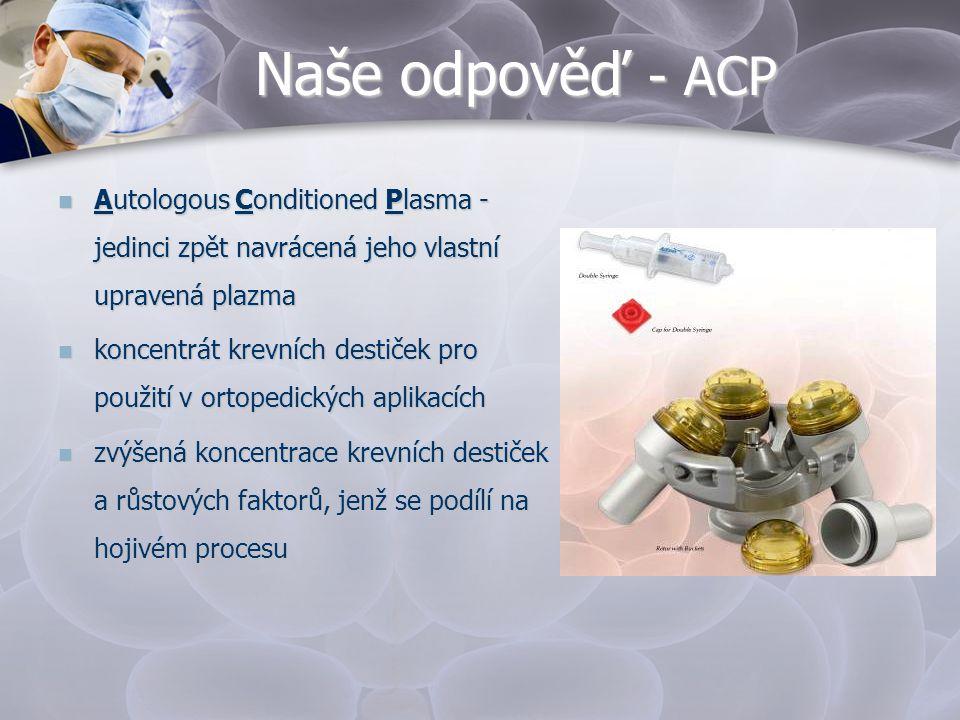 Naše odpověď - ACP Autologous Conditioned Plasma -jedinci zpět navrácená jeho vlastní upravená plazma.