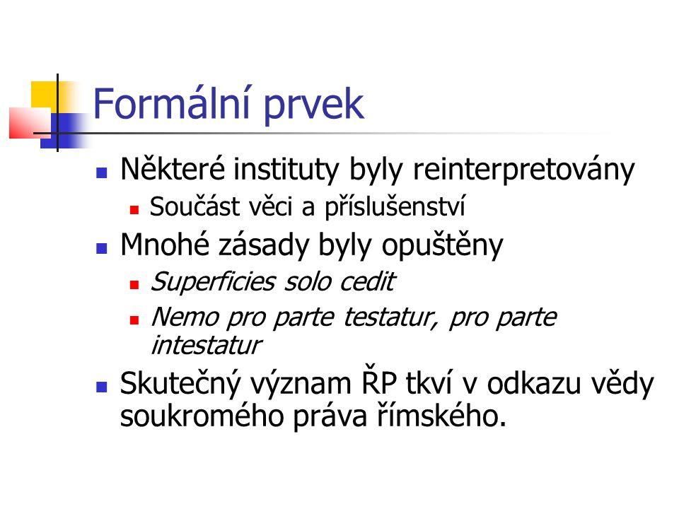 Formální prvek Některé instituty byly reinterpretovány