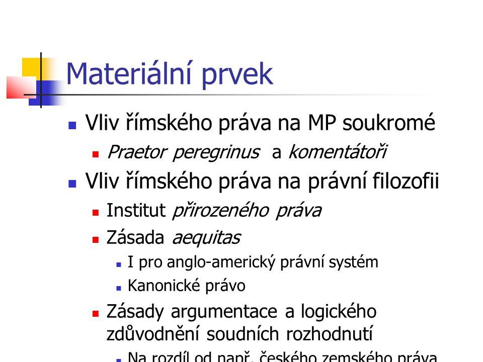 Materiální prvek Vliv římského práva na MP soukromé