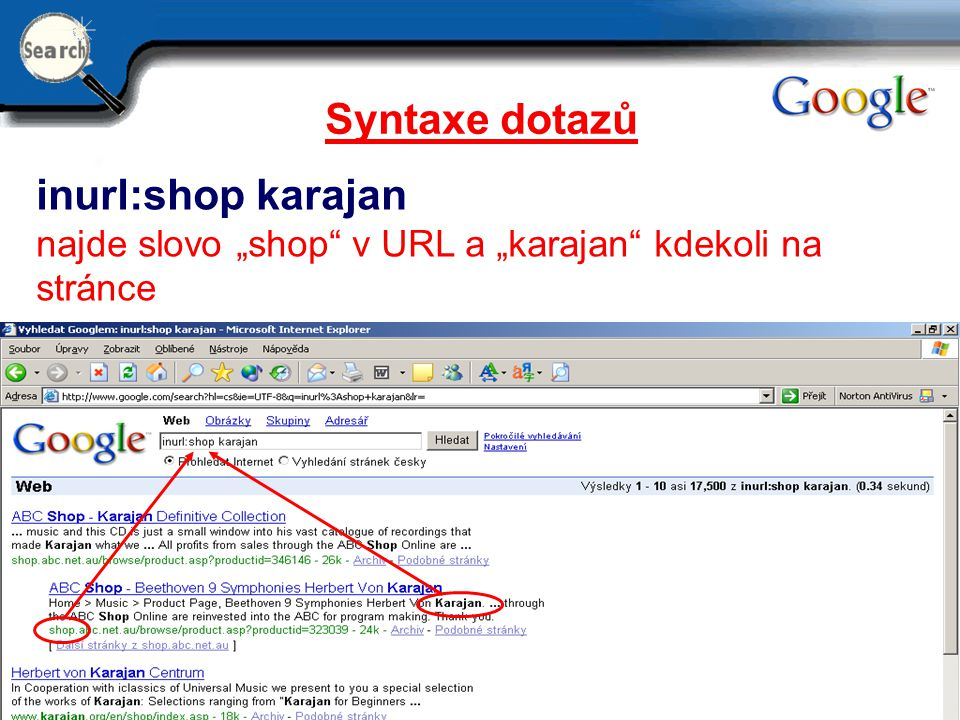 Syntaxe dotazů inurl:shop karajan