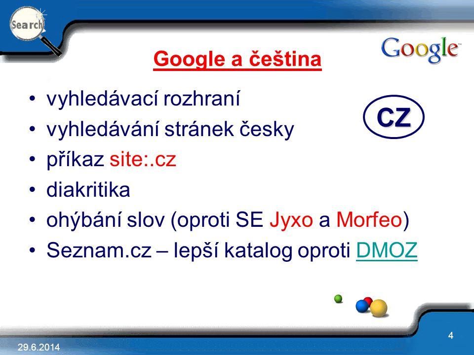 CZ Google a čeština vyhledávací rozhraní vyhledávání stránek česky