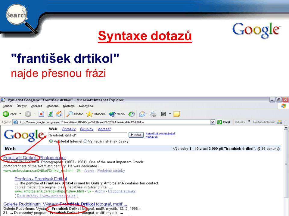 Syntaxe dotazů františek drtikol najde přesnou frázi